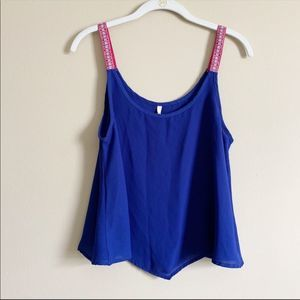 B. JEWEL / blue and pink embroidered tank / small